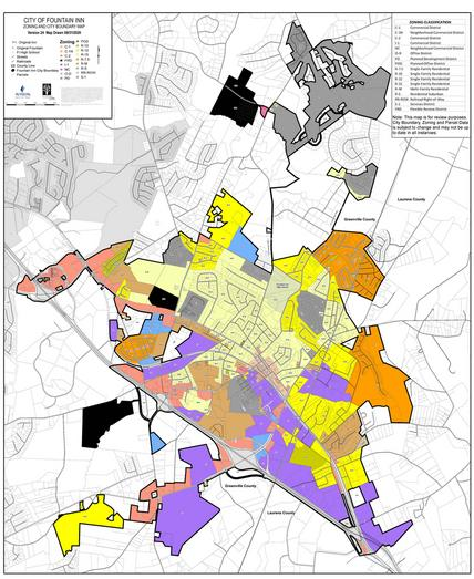 City of Fountain Inn Zoning and City Boundary Map